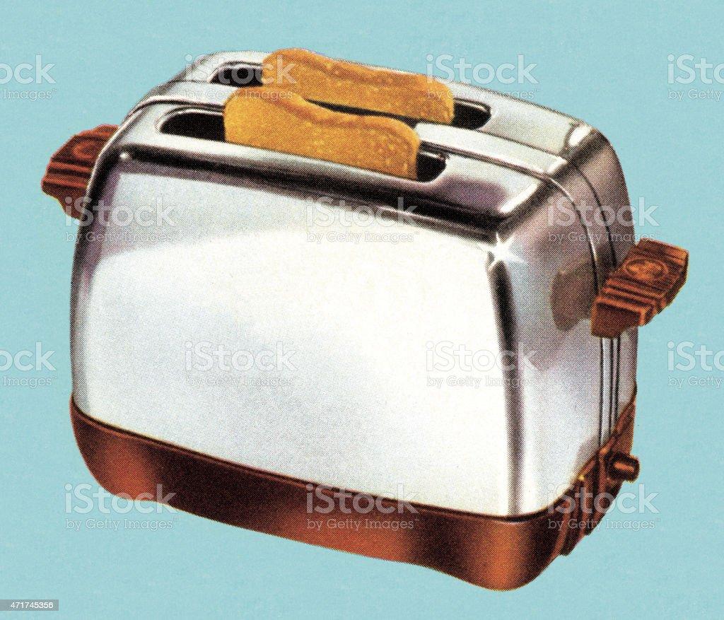Toast in Toaster vector art illustration