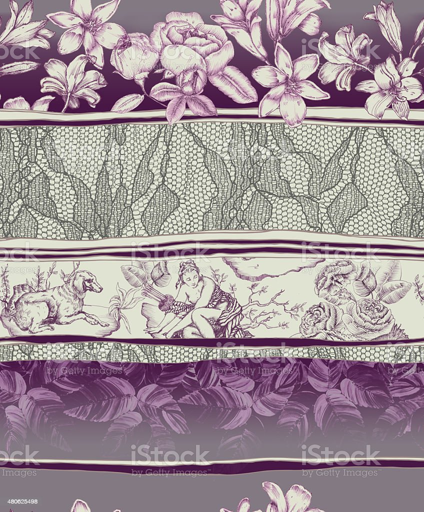 toile de jouy lace and flower repeatable composition vector art illustration