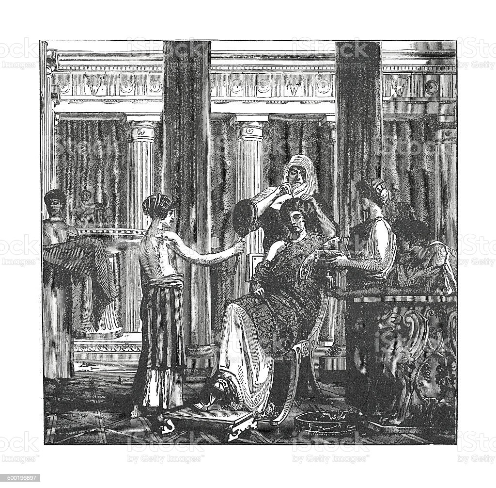 Toilette of a roman lady of rank (antique engraving) royalty-free stock vector art