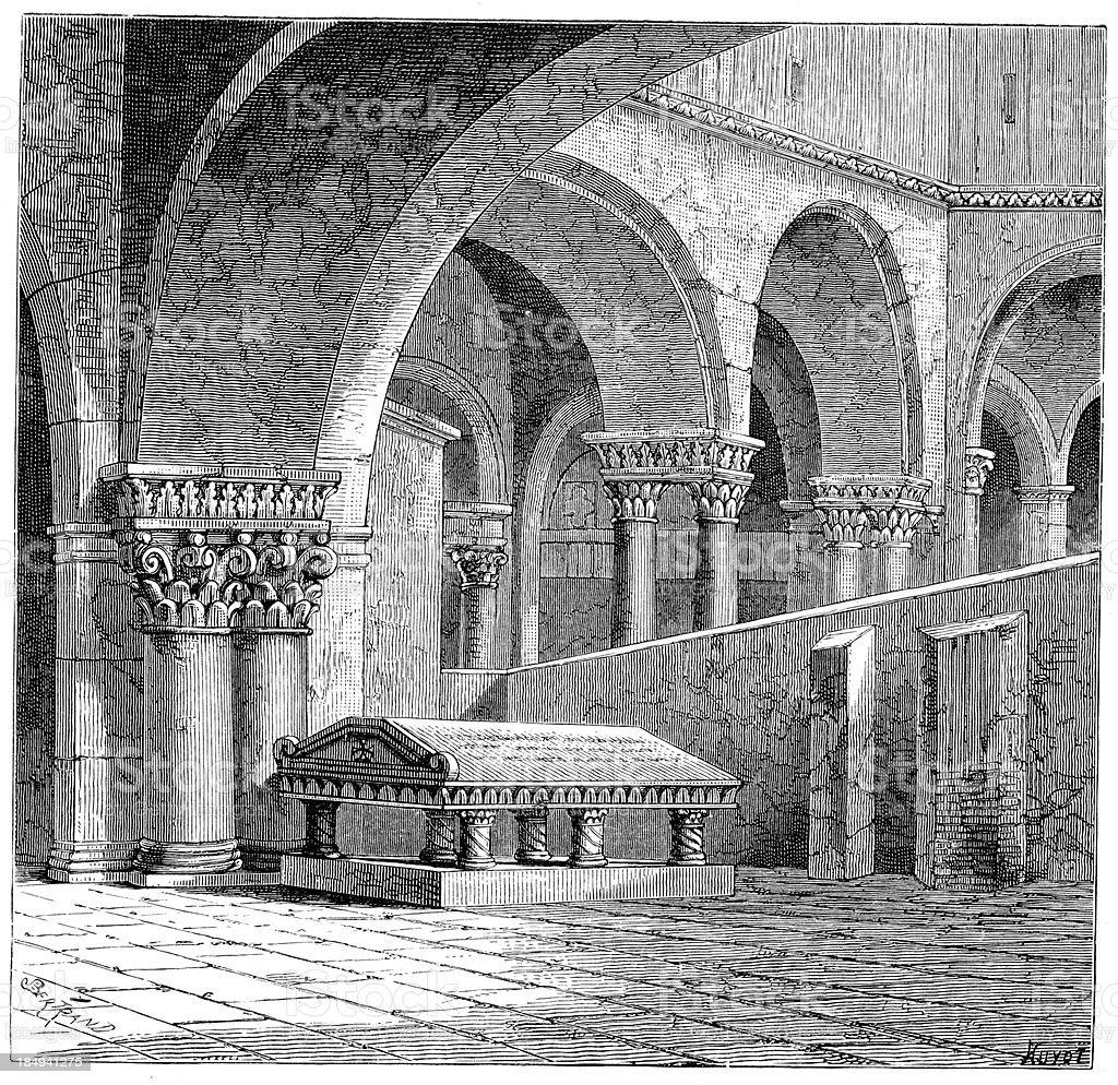 Tomb - Godfrey of Bouillon vector art illustration