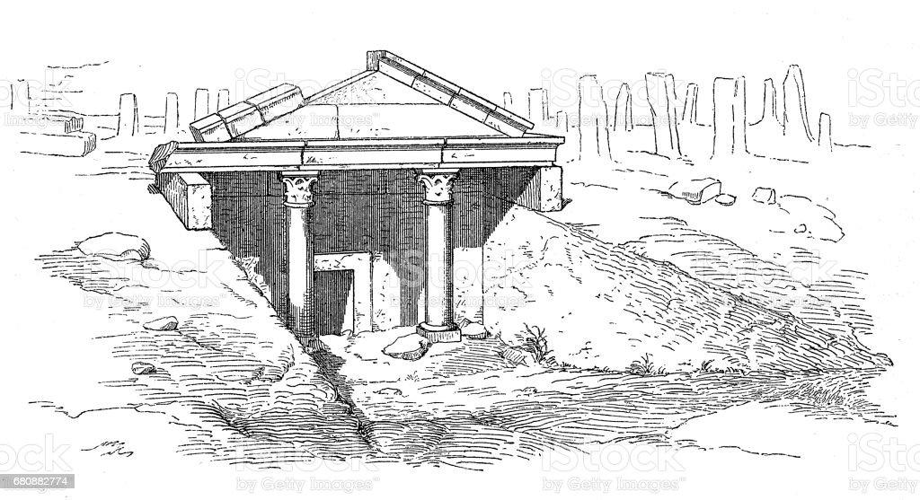 Tomb in Moudjeleia vector art illustration