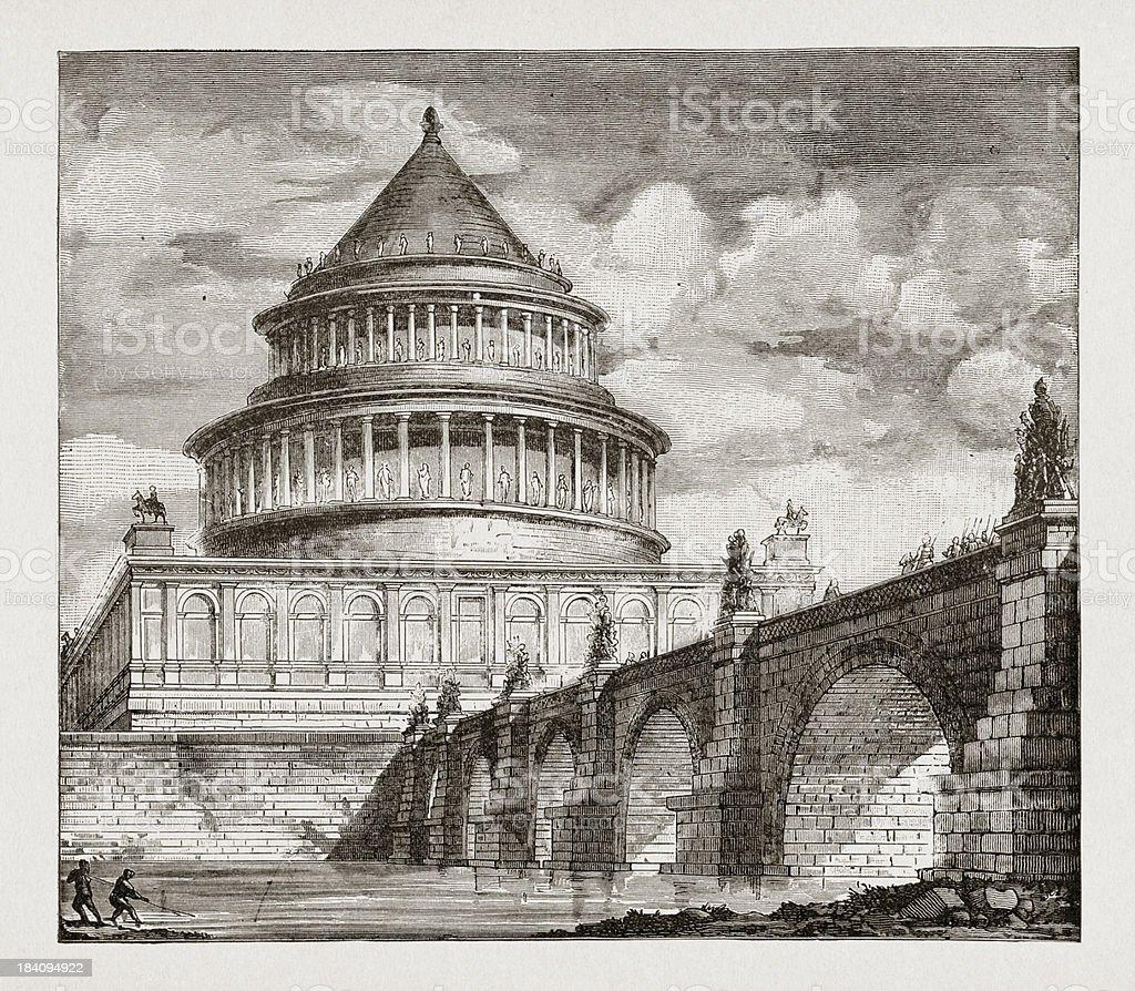 Tomb of emperor Hadrian vector art illustration
