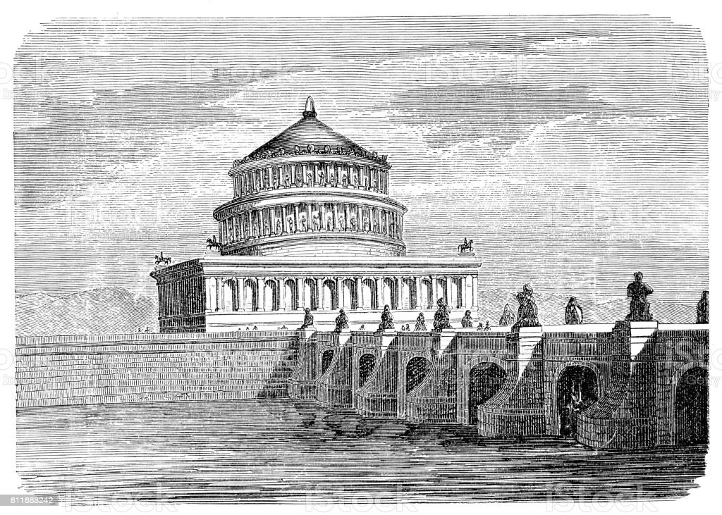 Tomb of Hadrian on Tiber River vector art illustration