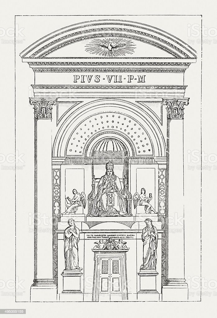 Tomb of Pope Pius VII (1742-1823), wood engraving, published 1881 vector art illustration