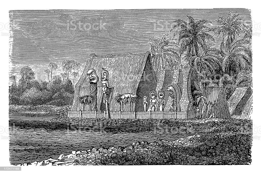 Tomb of Tamehameha in Hawaii (antique wood engraving) royalty-free stock vector art