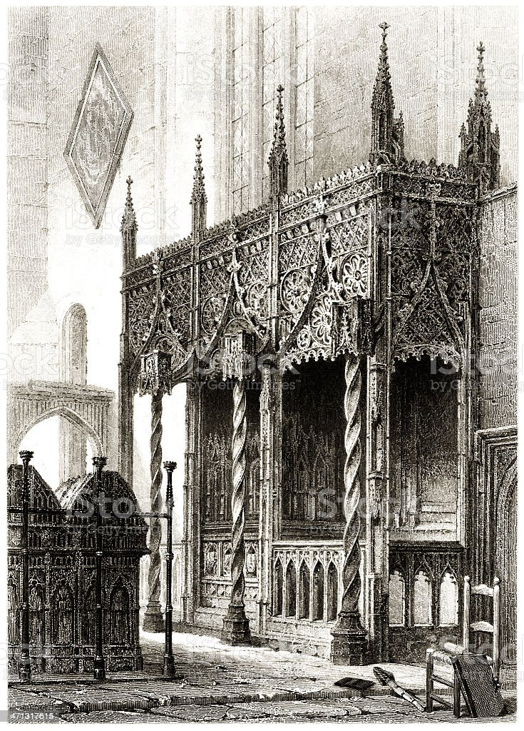Tomb of the Howard family at Arundel Church, Sussex vector art illustration