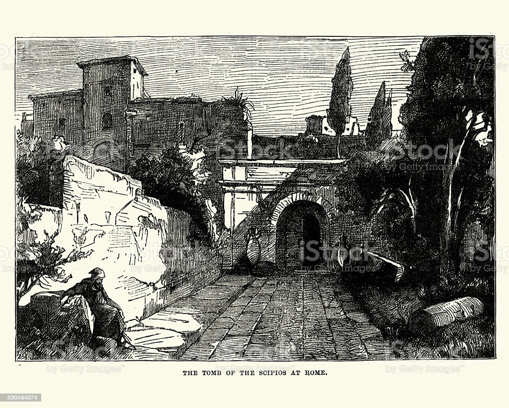 Tomb of the Scipios, Rome vector art illustration