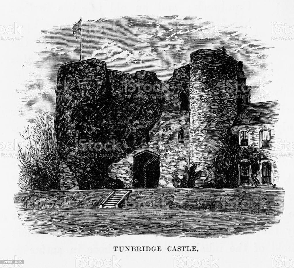 Tonbridge Castle Ruins, in Kent, England Victorian Engraving, Circa 1840 vector art illustration