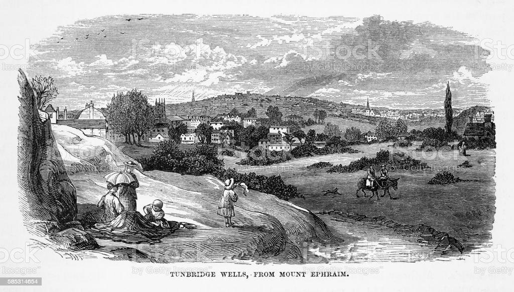 Tonbridge Wells, in Kent, England Victorian Engraving, Circa 1840 vector art illustration