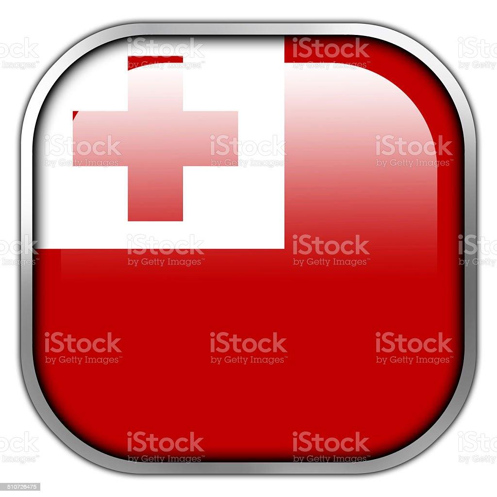 Tonga Flag square glossy button vector art illustration