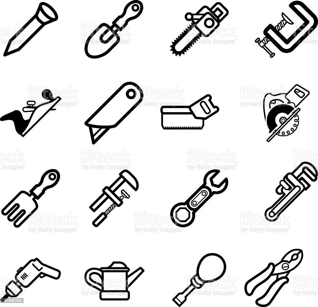 Tool icon series set Icons vector art illustration