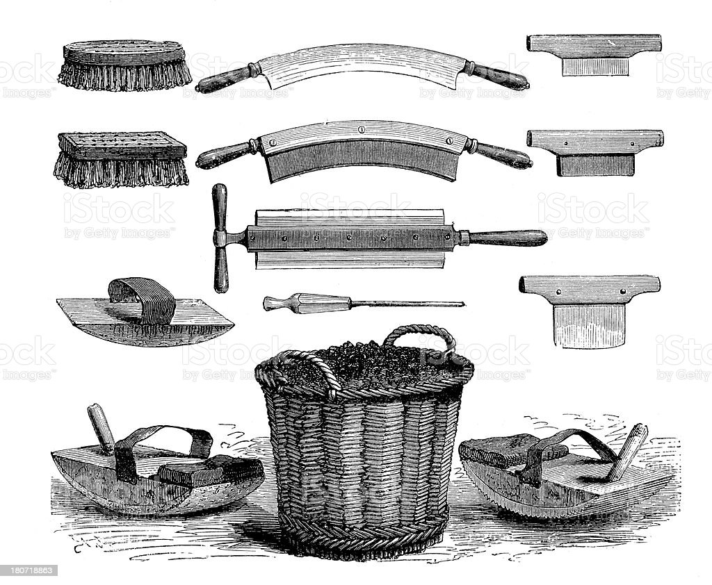 Tools and machinery used in dye-works, leather industry tannery royalty-free stock vector art