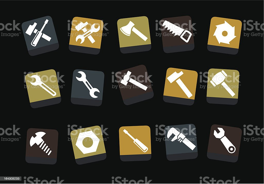 Tools icon set royalty-free stock vector art
