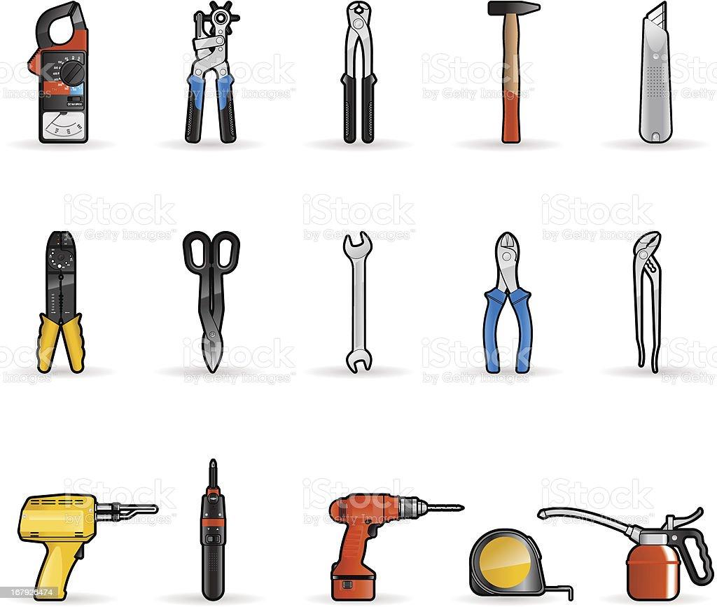 Tools set icons vector art illustration