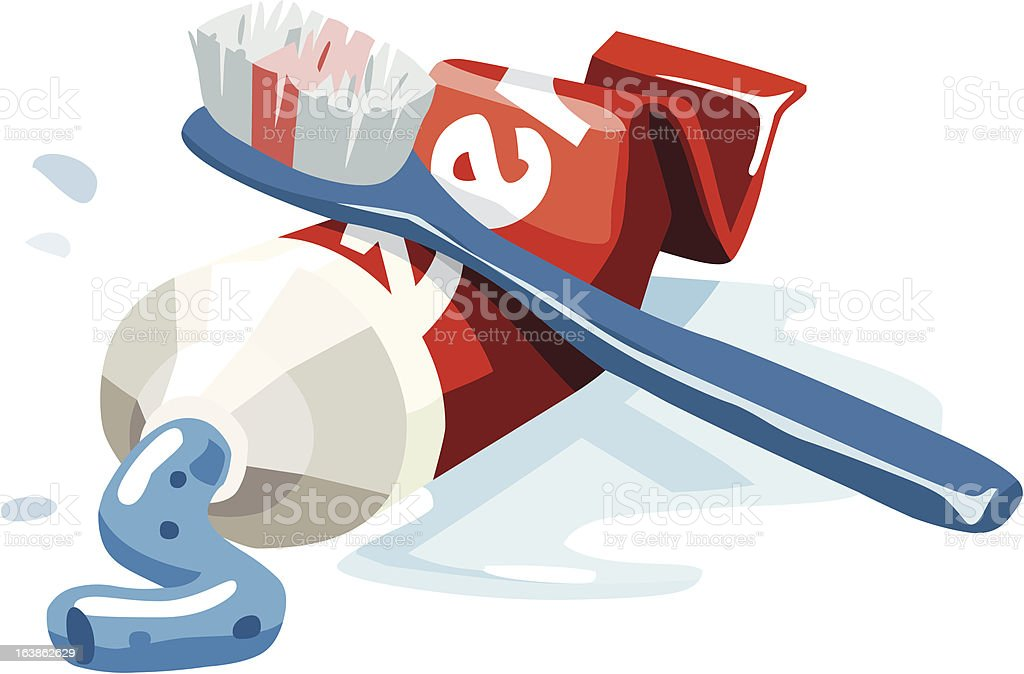 Toothbrush and toothpaste set. vector art illustration