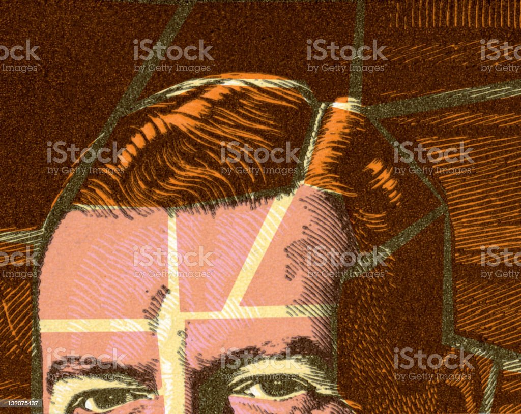 Top of Man's Head vector art illustration