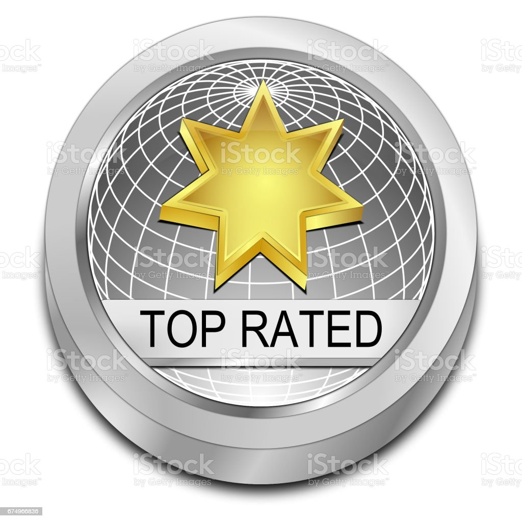 Top Rated Button - 3D illustration stock photo