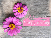 Top view pink flower and Happy Friday wording