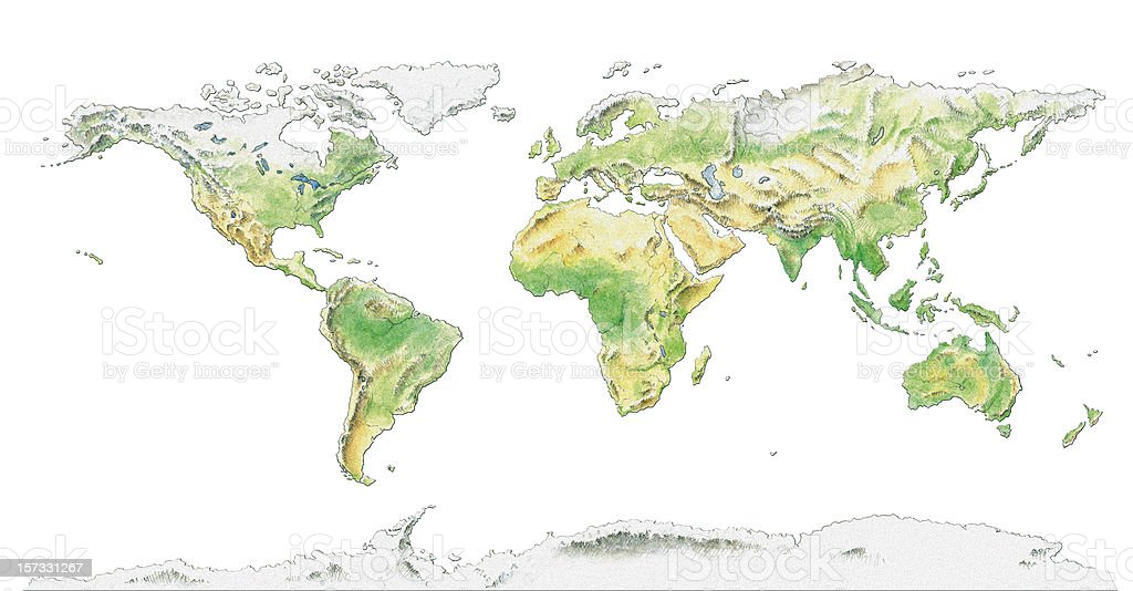 Topographical map of the World, water colour illustration vector art illustration