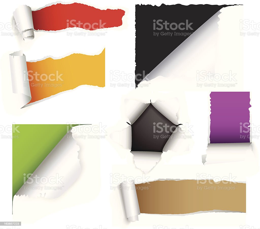 Torn paper set royalty-free stock vector art