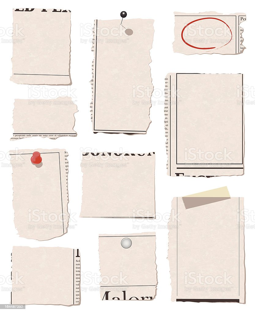 Torn paper with thumbtacks and tape royalty-free stock vector art