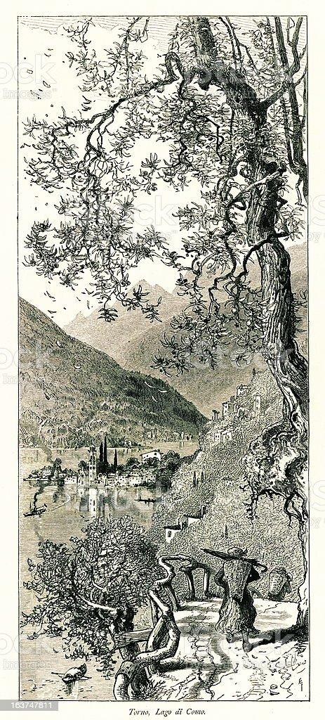 Torno, Lake Como, Italy I Antique European Illustrations royalty-free stock vector art