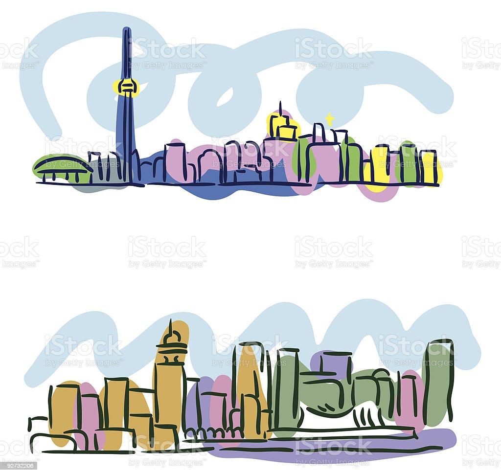 Toronto Vancouver cityscape sketches vector art illustration