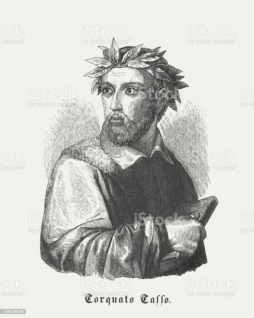 Torquato Tasso (1544-1595), Italian poet, wood engraving, published in 1848 vector art illustration