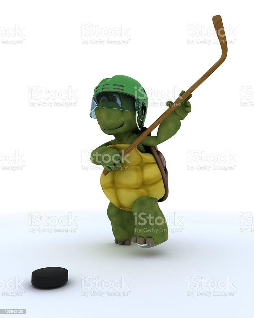 tortoise playing ice hockey royalty-free stock vector art