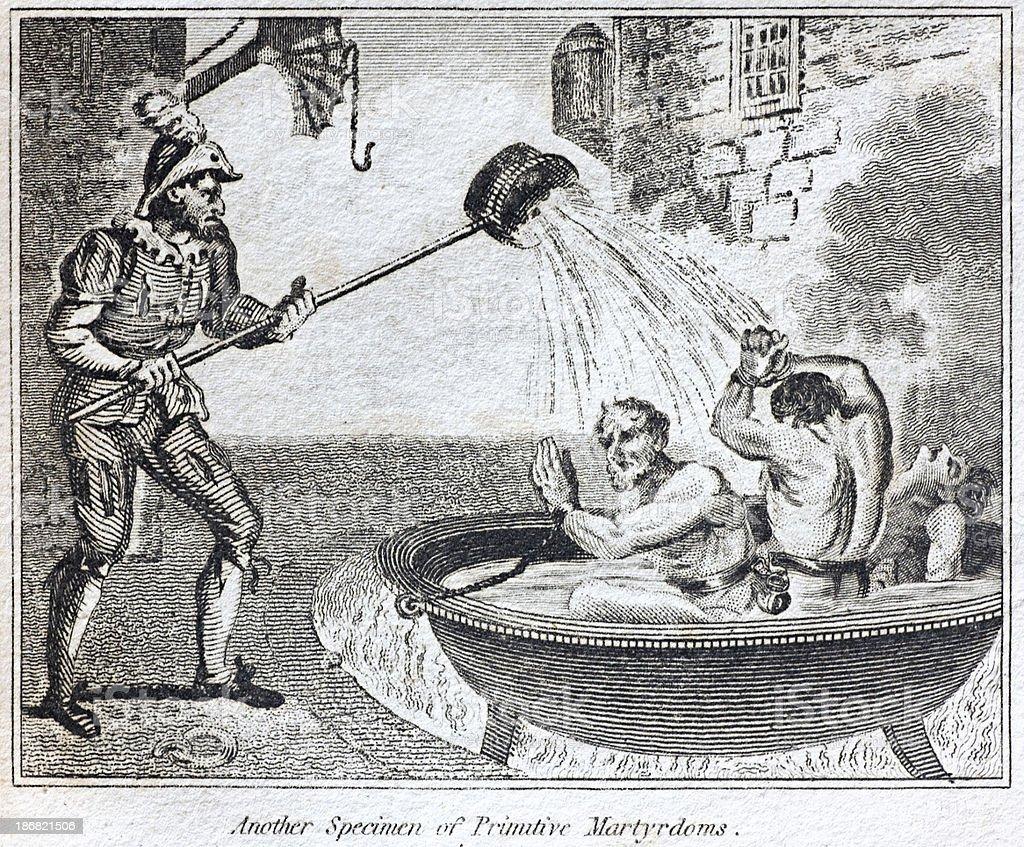 Torture Boiled Alive vector art illustration