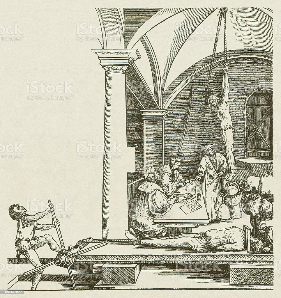 Torture chamber, by Hans Schäufelin, 16th century, published in 1881 vector art illustration
