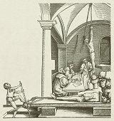 Torture chamber, by Hans Schäufelin, 16th century, published in 1881