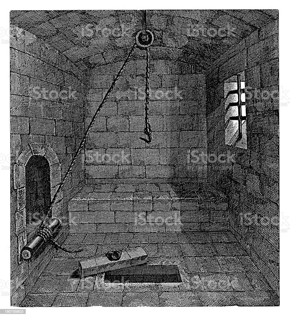 Torture chamber from XIV century royalty-free stock vector art