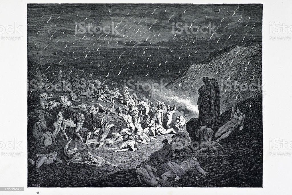Torture of the fiery rain vector art illustration