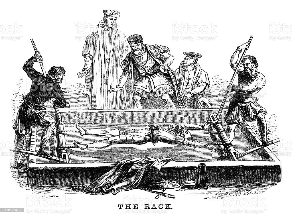 Torture on the Rack (Victorian woodcut) vector art illustration