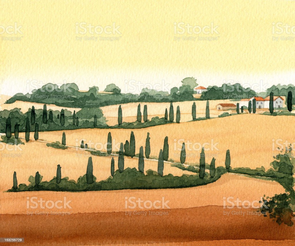 Toscany, Italy vector art illustration