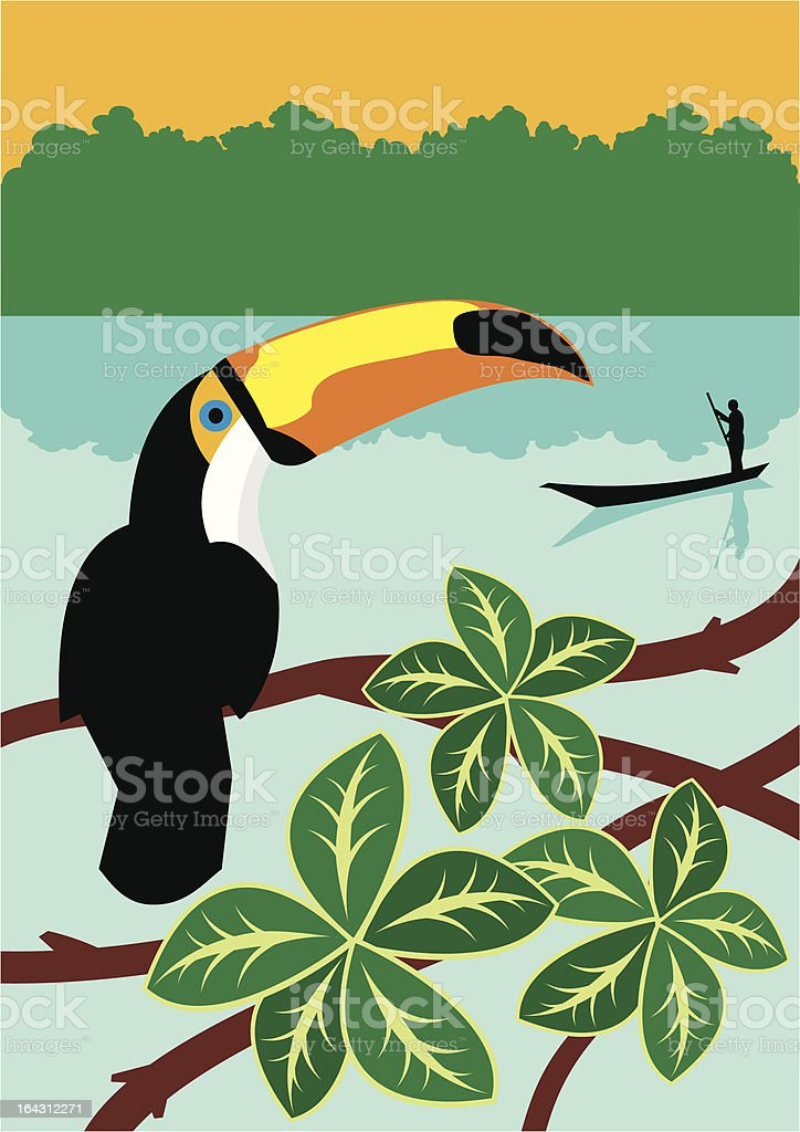 Toucan in a tropical landscape royalty-free stock vector art
