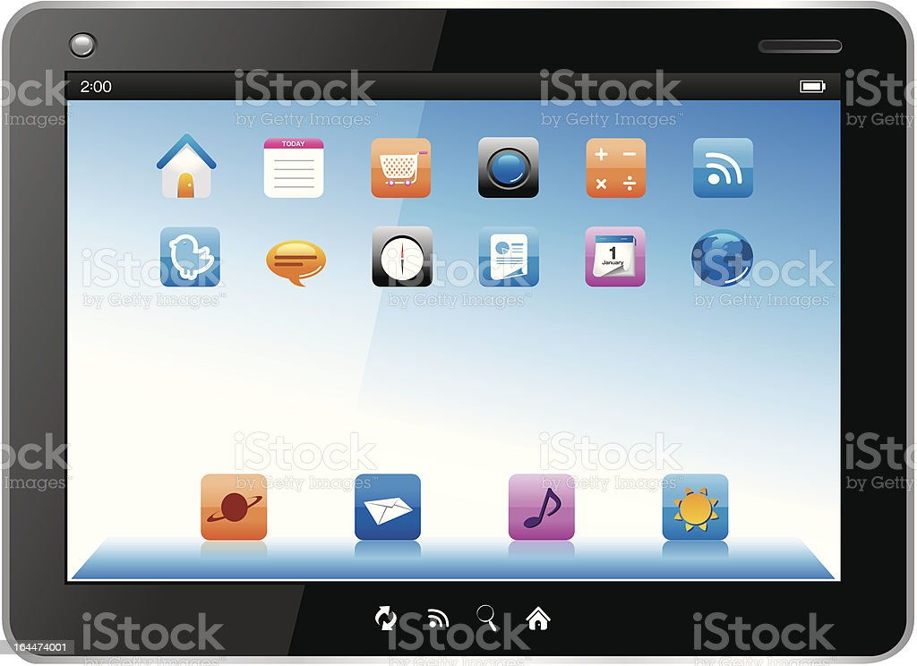 Touch Tablet with Apps royalty-free stock vector art