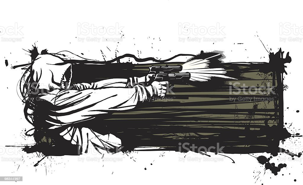 Tough Guy with Pistols: Version II royalty-free stock vector art