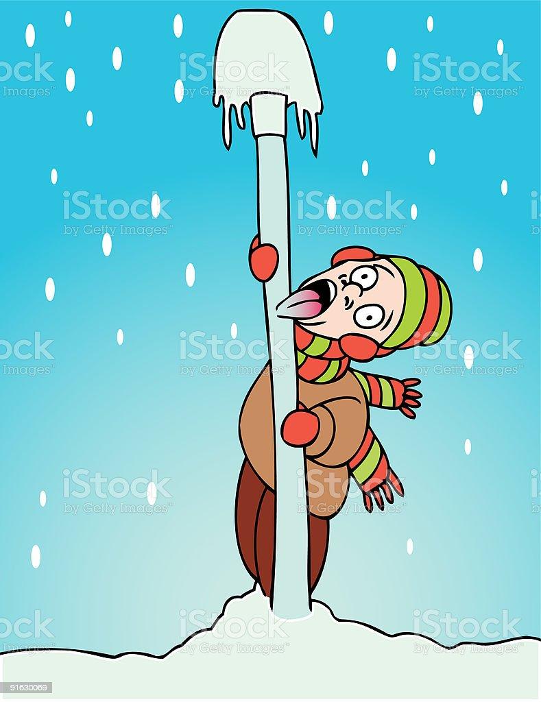 Toungue Stuck to Pole vector art illustration