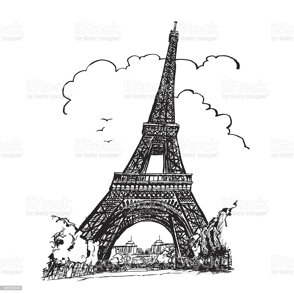 Tour Eiffel in Paris royalty-free stock vector art