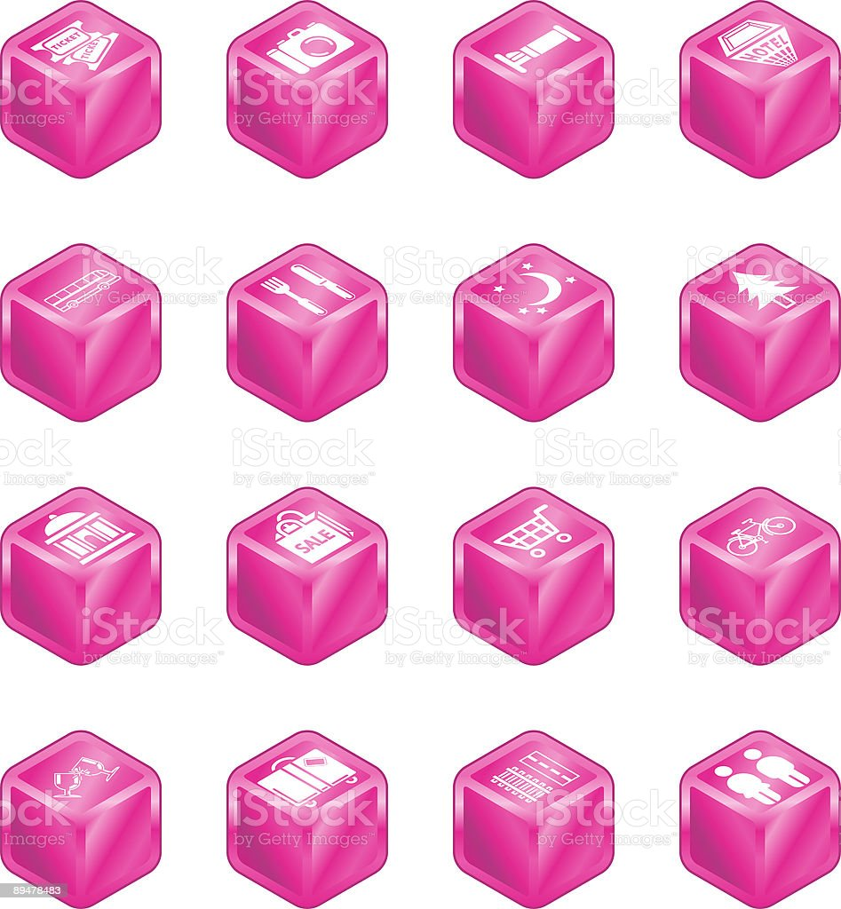 Tourist Locations Cube Icon Set royalty-free stock vector art