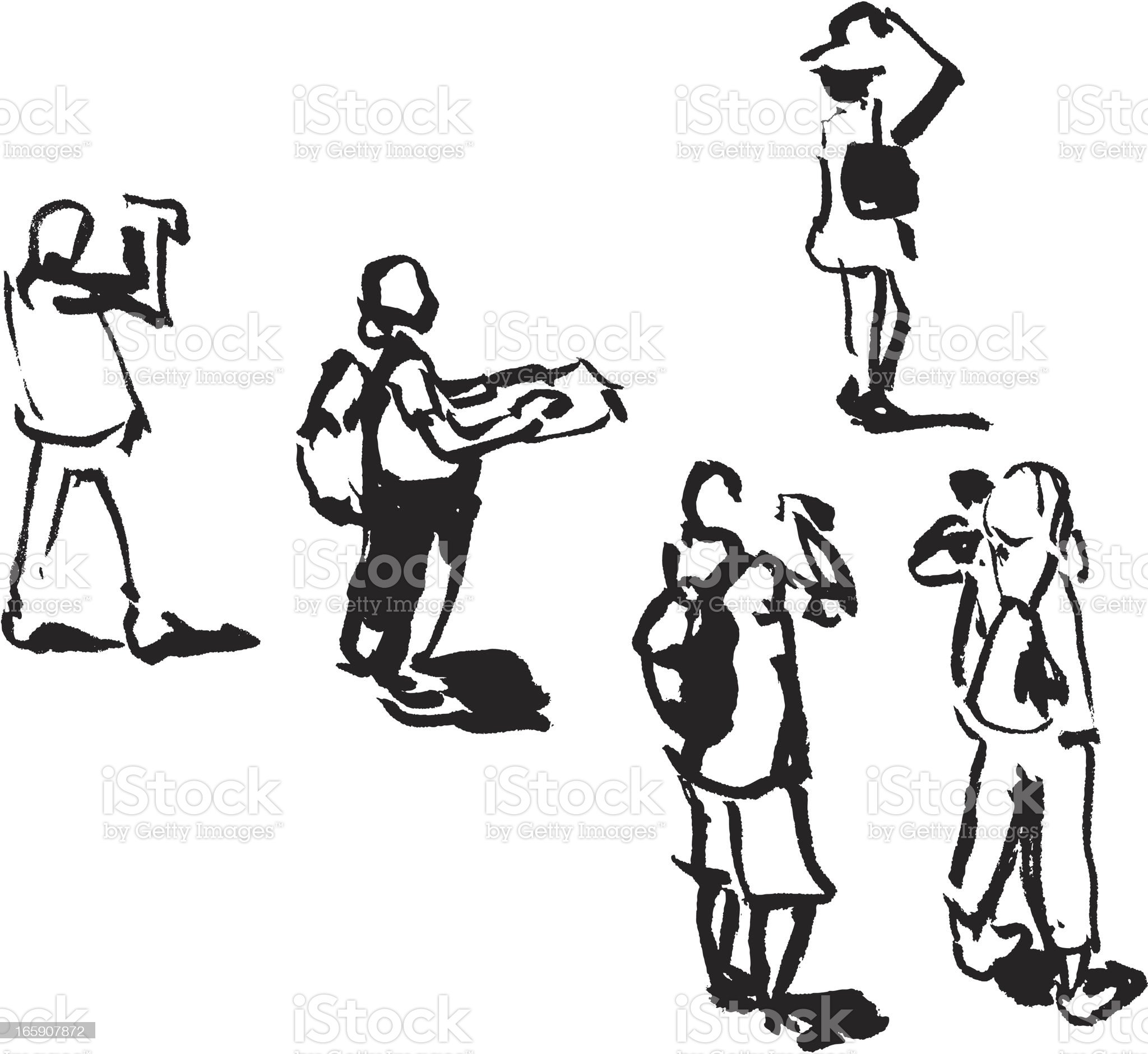 Tourist People Sketch royalty-free stock vector art