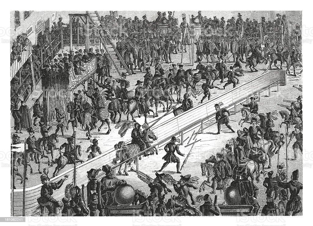 Tournament in XVI century (antique wood engraving) royalty-free stock vector art