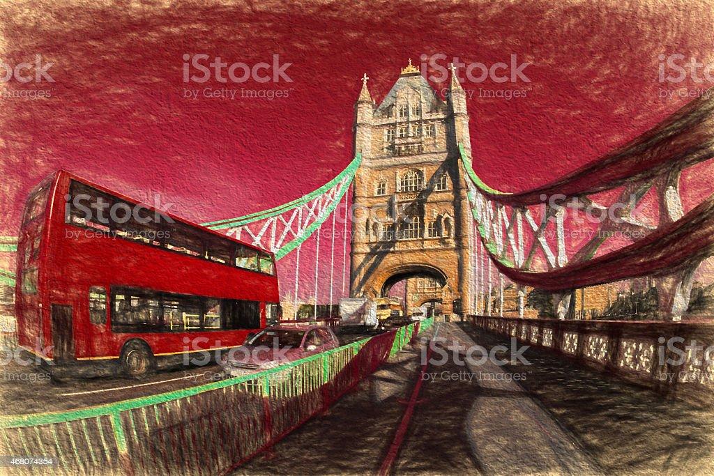 Tower Bridge in Artwork style in London, England vector art illustration