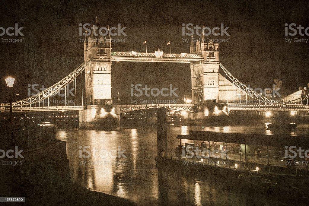 Tower Bridge, London, picture in retro vintage style vector art illustration