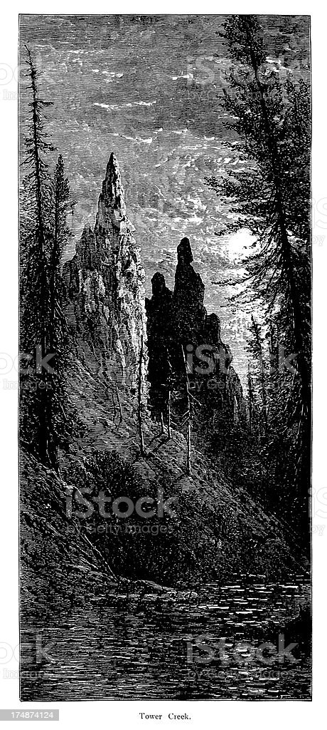 Tower Creek, Yellowstone National Park, royalty-free stock vector art
