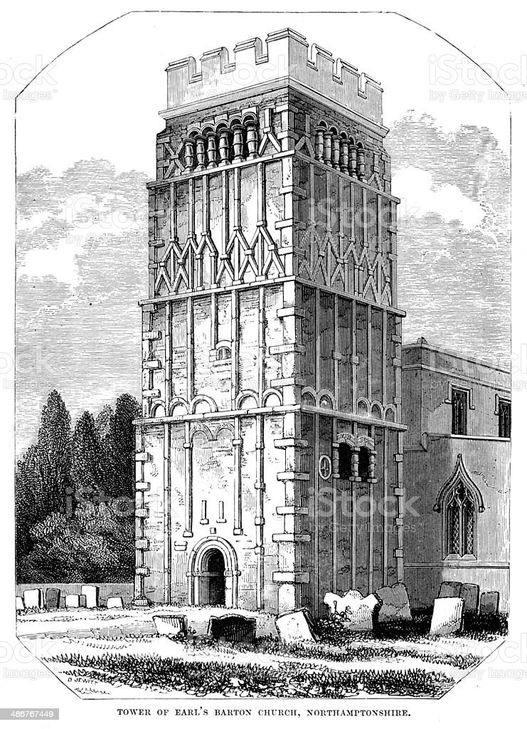 Tower of Earl's Barton Church vector art illustration