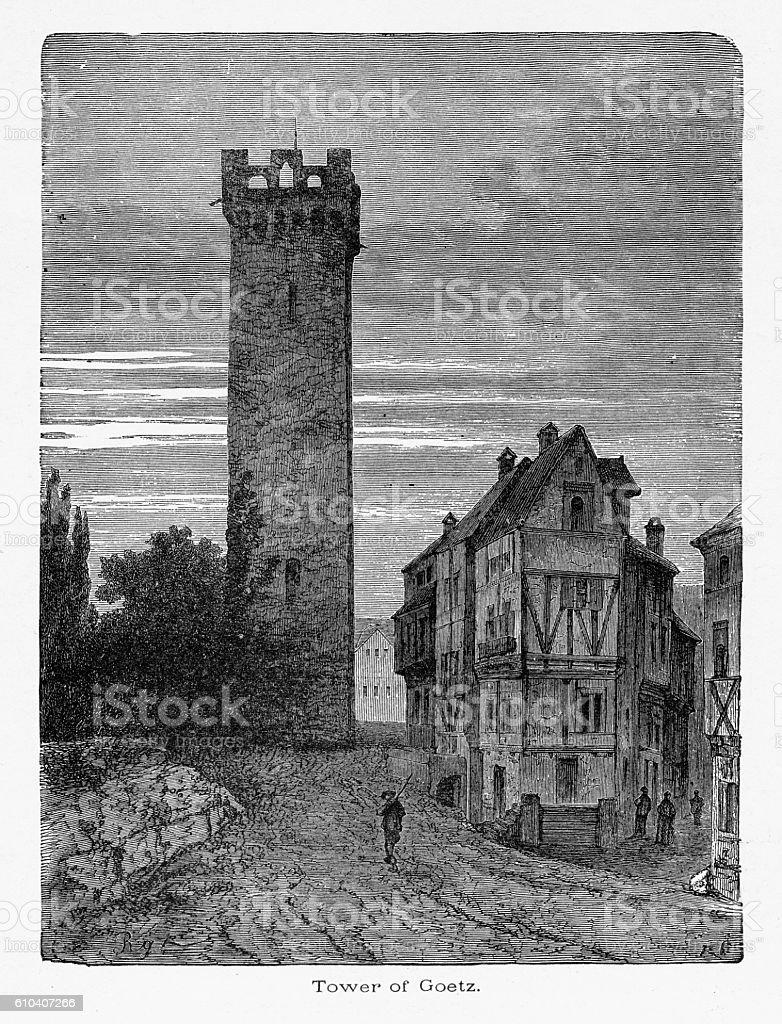 Tower of Goetz in Heilbronn, Germany Circa 1887 vector art illustration