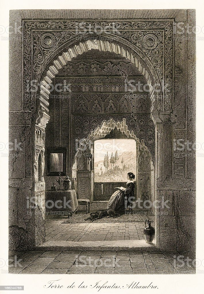 Tower of the Princesses, Alhambra, Spain (antique steel engraving) royalty-free stock vector art